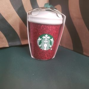 Starbucks Red Glitter Coffee Cup Ornament New
